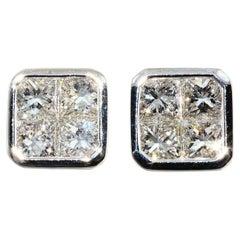 Invisible Set Princes Cut Diamond Studs 18 Karat White Gold