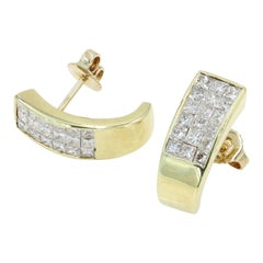 Invisible Set Princess Cut Diamond Earrings in 18 Karat Yellow Gold