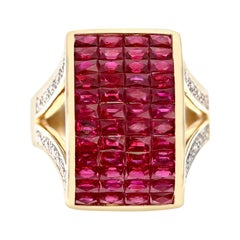 Invisible-Set Ruby and Diamond Cocktail Ring, 18k Yellow Gold
