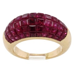 Invisible Set Ruby and Gold Ring