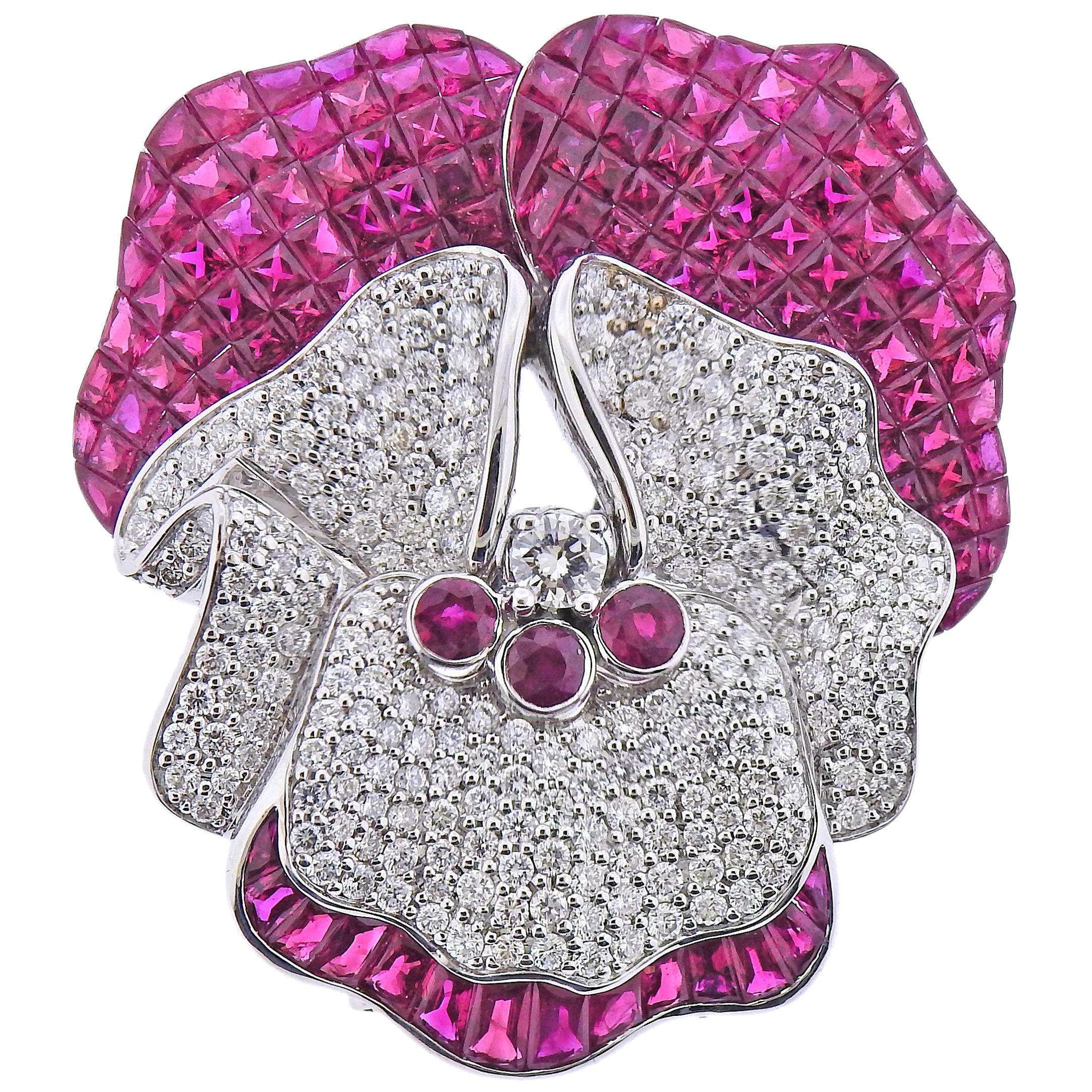 Invisible Set Ruby Diamond White Gold Orchid Flower Brooch