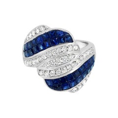Invisible Setting Blue Sapphire Ring & Diamonds 18 Karat White Gold