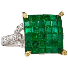 Invisible Setting Emerald Square Ring