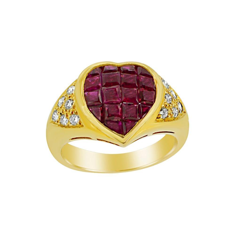 Invisible Setting Ruby Heart Ring & Diamonds 18 Karat Yellow Gold