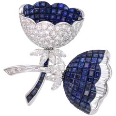 Invisible Setting Sapphire and Diamond Brooch