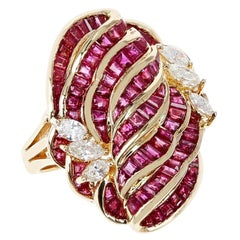 Invisibly Set 8 Row Ruby Flower-Cut Cocktail Ring with Marquise Diamonds, 18K