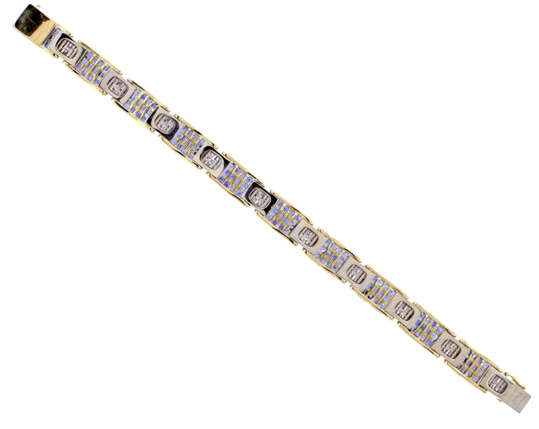 Princess Cut Invisibly Set Sapphire and Diamond Bracelet For Sale