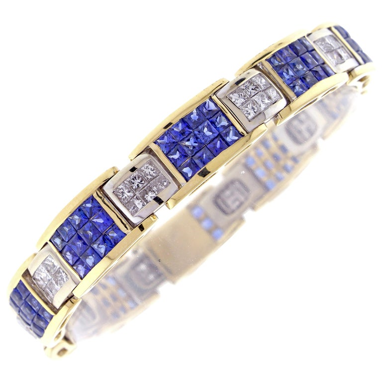 Invisibly Set Sapphire and Diamond Bracelet For Sale