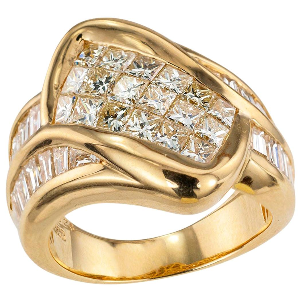 Invisibly Set Princess Cut Diamonds Baguette Diamonds Yellow Gold Ring Band