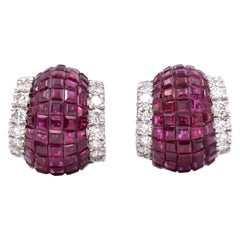 Invisibly-Set Ruby and Diamond Earclips by Aletto Brothers
