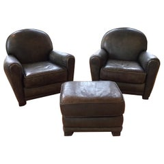 Inviting Comfy Set of Two Dark Green Leather Club Chairs and Matching Ottoman