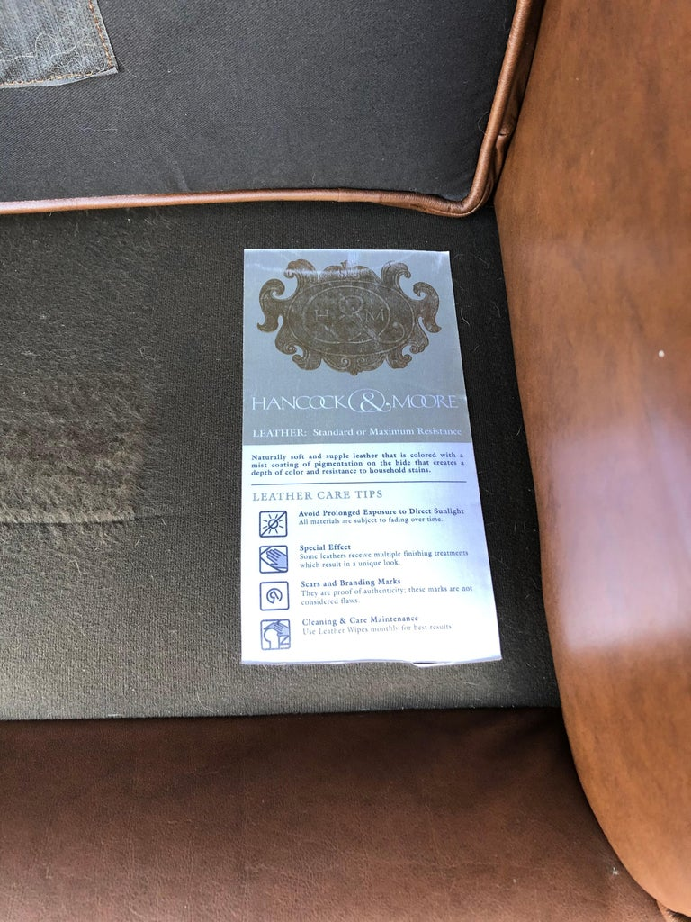 Inviting Supple Brown Leather Classic Hancock & Moore Club Chair For Sale 4