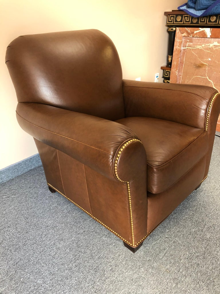 American Classical Inviting Supple Brown Leather Classic Hancock & Moore Club Chair For Sale