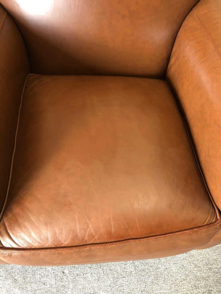 American Inviting Supple Brown Leather Classic Hancock & Moore Club Chair For Sale