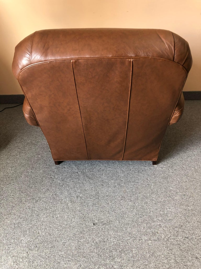 Late 20th Century Inviting Supple Brown Leather Classic Hancock & Moore Club Chair For Sale