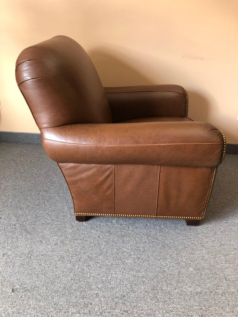 Inviting Supple Brown Leather Classic Hancock & Moore Club Chair For Sale 1