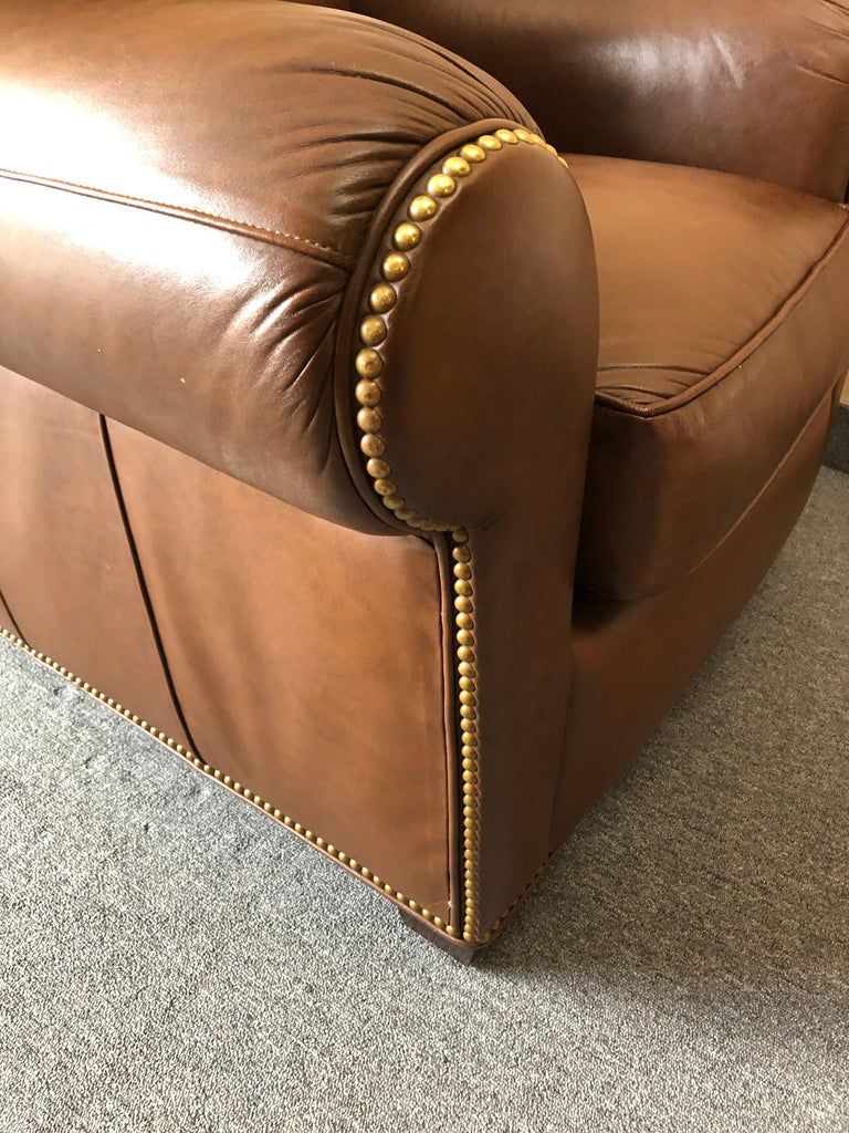Inviting Supple Brown Leather Classic Hancock & Moore Club Chair For Sale 2