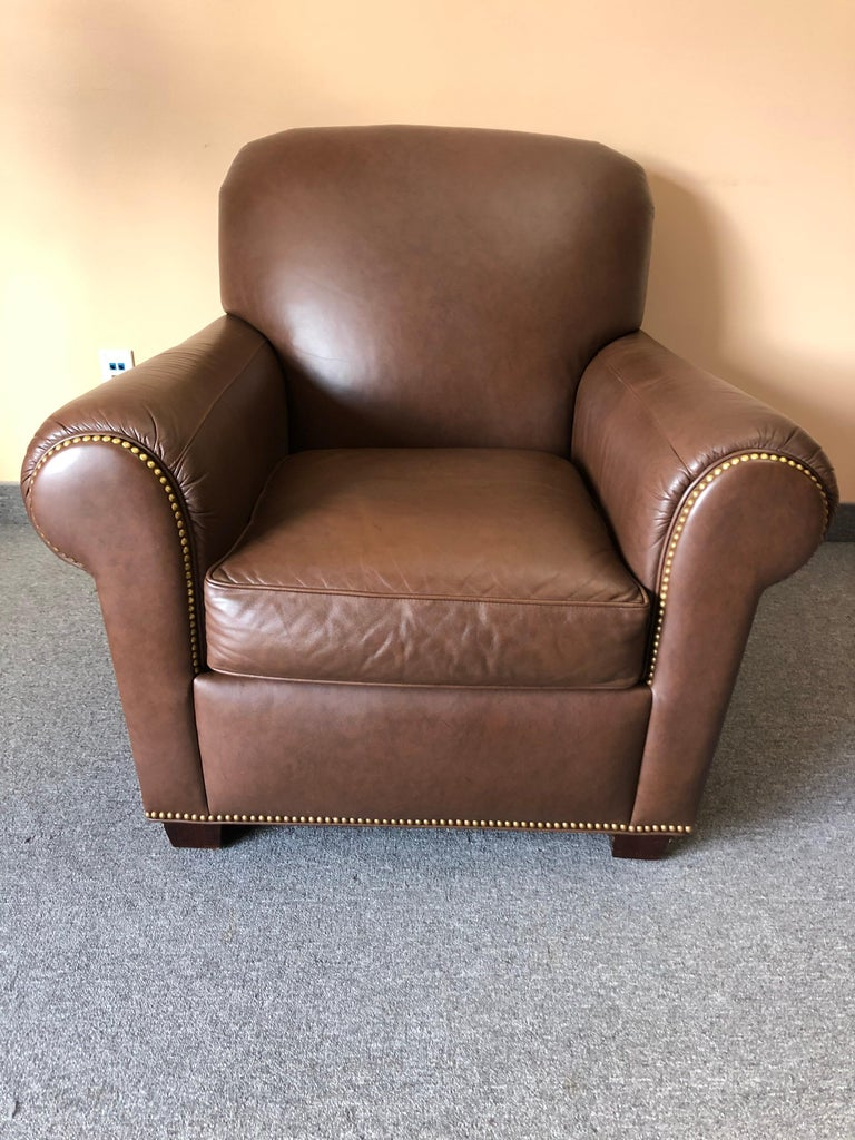 Inviting Supple Brown Leather Classic Hancock & Moore Club Chair For Sale 3