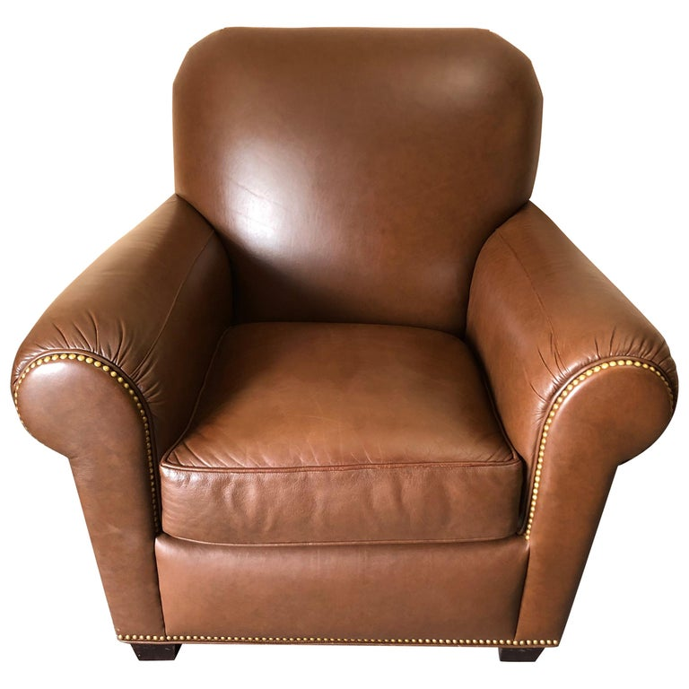 Inviting Supple Brown Leather Classic Hancock & Moore Club Chair For Sale