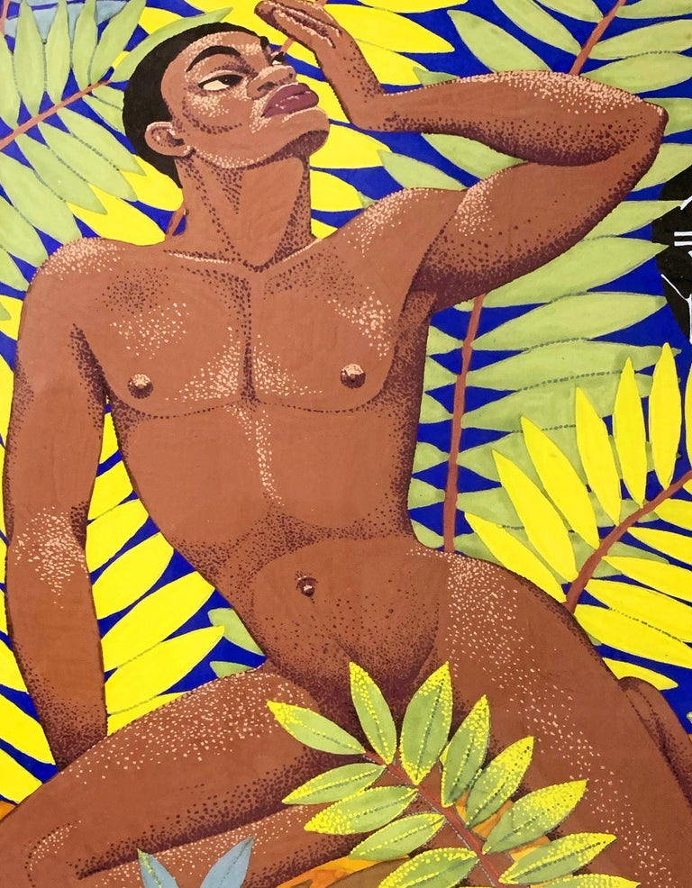 Superbly conceived and executed in very fine detail, this Art Deco painting of a nude black male figure amidst a lush, tropical setting, with an African mask peeking out from the foliage, was executed by Milton Martin in the 1930s. It is possible