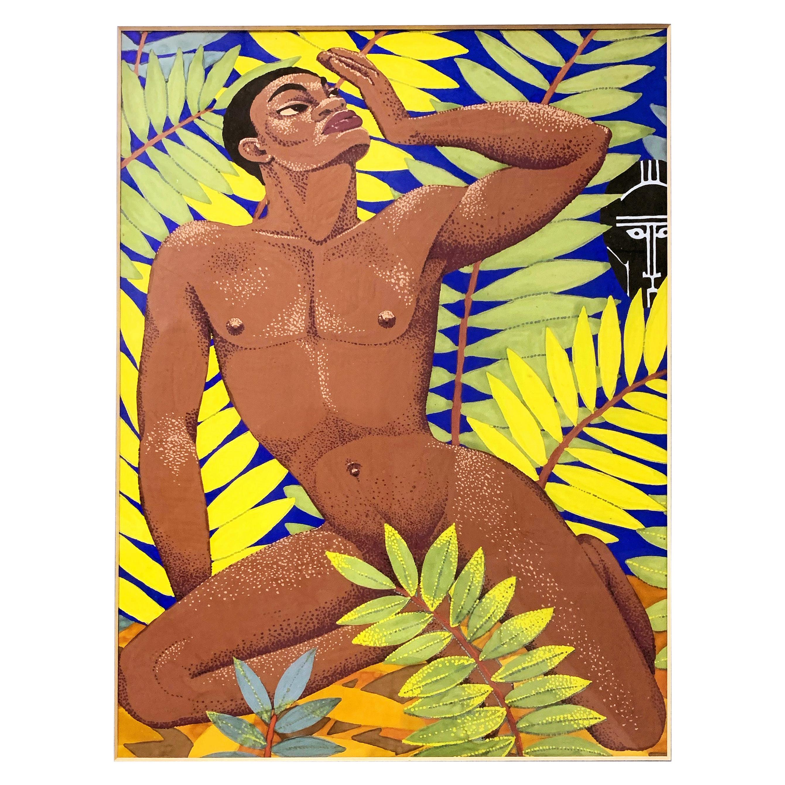 """""""Invocation,"""" Art Deco Painting with Black Male Nude and African Mask"""