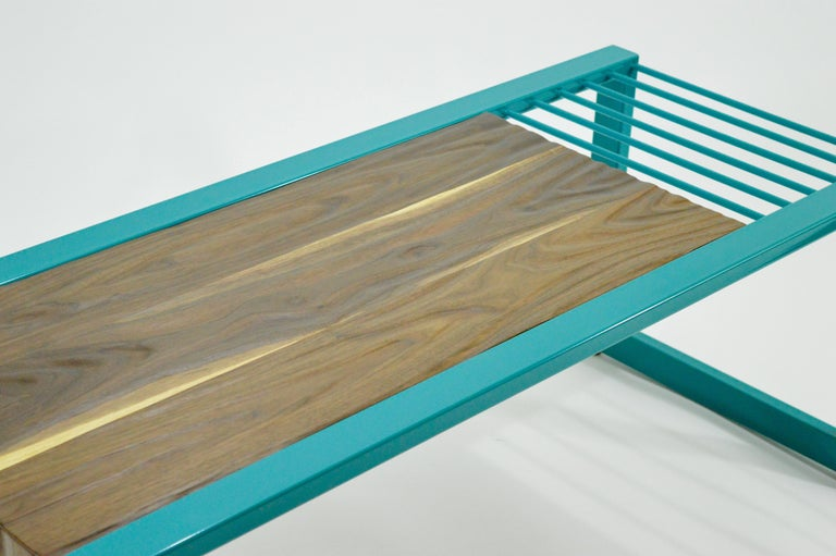 American Invoke Modern Coffee Table / Bench by CAUV Design Steel and Carved Walnut For Sale