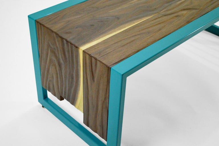 Hand-Carved Invoke Modern Coffee Table / Bench by CAUV Design Steel and Carved Walnut For Sale