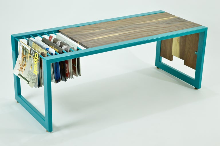 Invoke Modern Coffee Table / Bench by CAUV Design Steel and Carved Walnut In New Condition For Sale In Brooklyn, NY