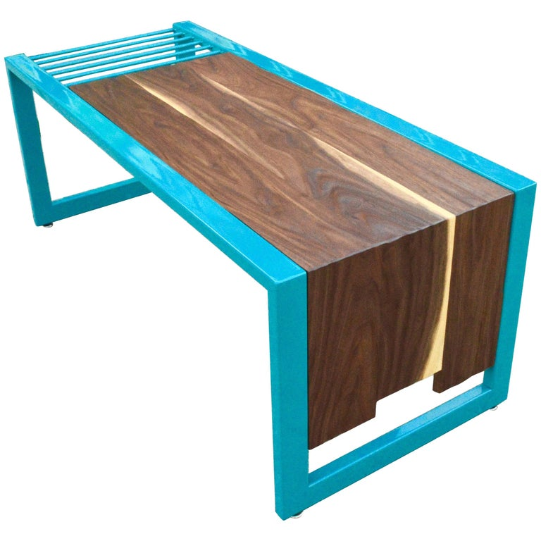 Invoke Modern Coffee Table / Bench by CAUV Design Steel and Carved Walnut For Sale