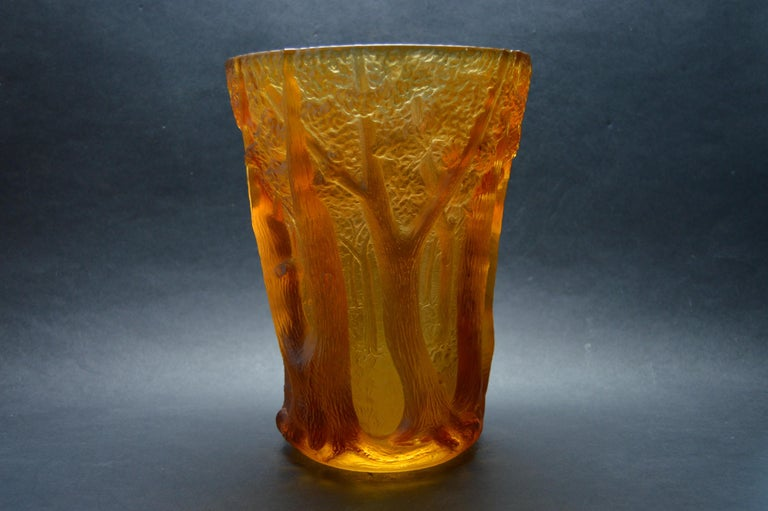 Inwald Art Deco Amber Glass Bohemia Czech, 1930 In Good Condition For Sale In Oakland, CA