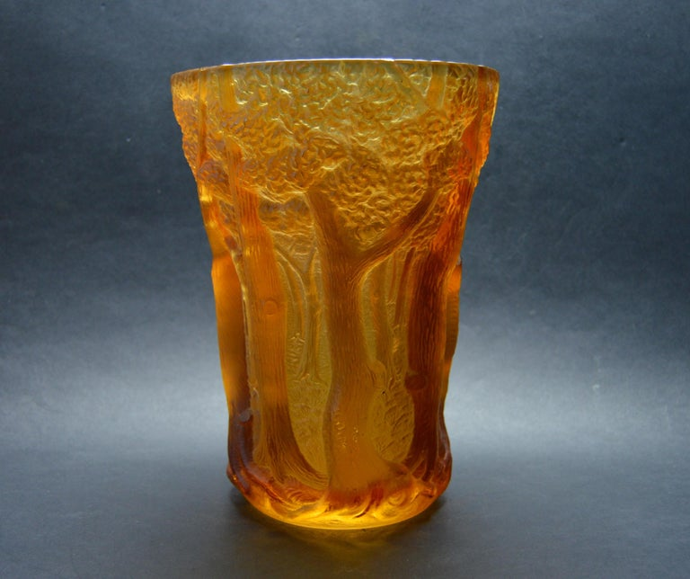 Mid-20th Century Inwald Art Deco Amber Glass Bohemia Czech, 1930 For Sale