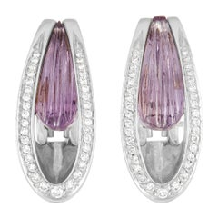 Io Si 18k White Gold 0.60 Ct Diamond and Amethyst Earrings