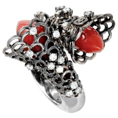 Io Si Diamond and Coral White Gold and Black Rhodium Bypass Ring