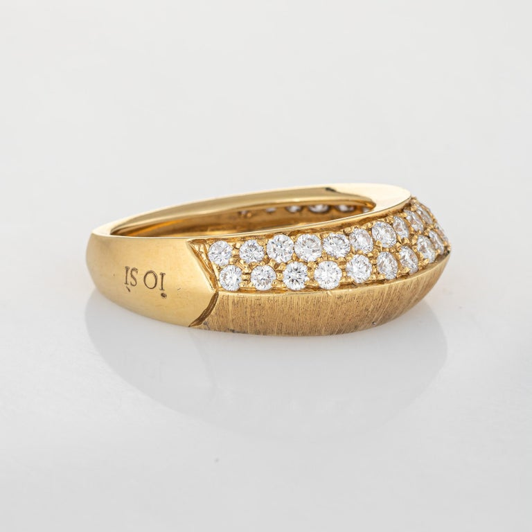 Modern Io Si Diamond Pointed Band 1.24 Carat Limited Edition 3/50 18 Karat Gold Estate For Sale