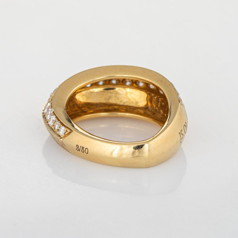 Io Si Diamond Pointed Band 1.24 Carat Limited Edition 3/50 18 Karat Gold Estate In Good Condition For Sale In Torrance, CA