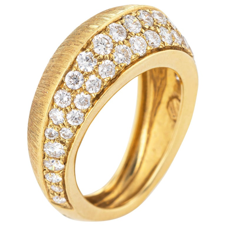 Io Si Diamond Pointed Band 1.24 Carat Limited Edition 3/50 18 Karat Gold Estate For Sale