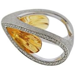 Io Si Gold Citrine Diamond Ring