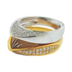 Io Si Gold Diamond Carved Quartz Double Ring