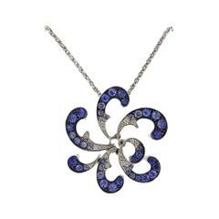 Io Si Gold Diamond Sapphire Pendant Necklace
