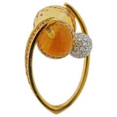 Io Si Yellow Gold Diamond Sapphire Citrine Bypass Ring