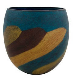 """Brown-Green Matte Elliptical Vase,"" Hand Blown Glass signed by Ioan Nemtoi"