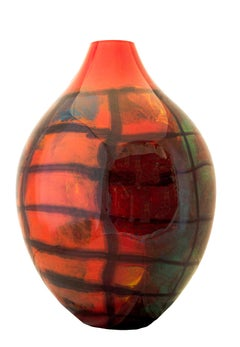 'Oval Red Karo Large Vase' original hand-blown glass signed by Ioan Nemtoi