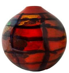 'Red Karo Sphere' original hand-blown glass signed by Ioan Nemtoi
