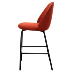 Iola Stool in Orange Fabric with Black Metal Base by E-GGS