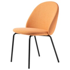 Iola Upholstered Chair in Black Metal Base, by E-ggs