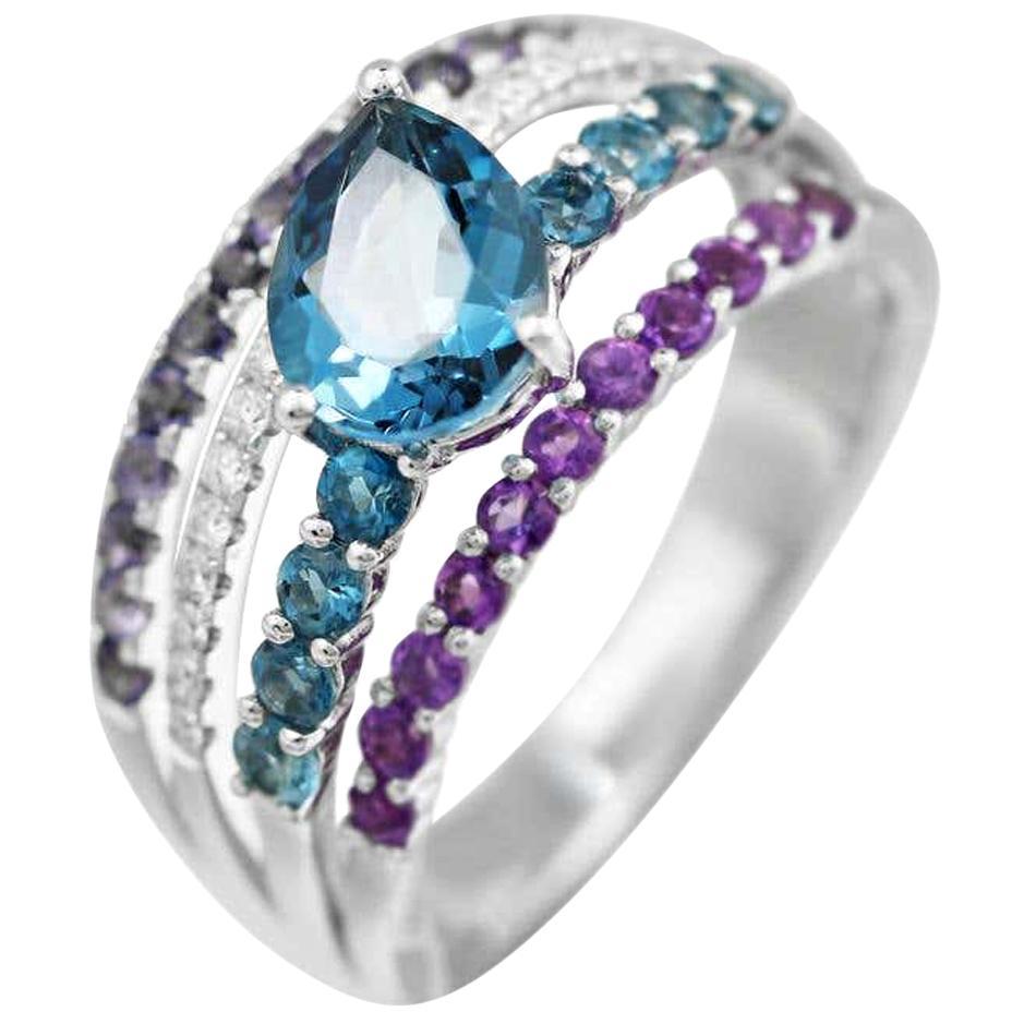 Iolite Amethyst Diamond Topaz White 14 Karat Gold Ring