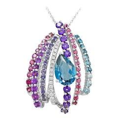 Iolite Amethyst Diamond Topaz White Gold 14 Karat Pendant