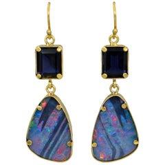 Iolite and Australian Boulder Opal 22 Karat Gold Dangle Earrings