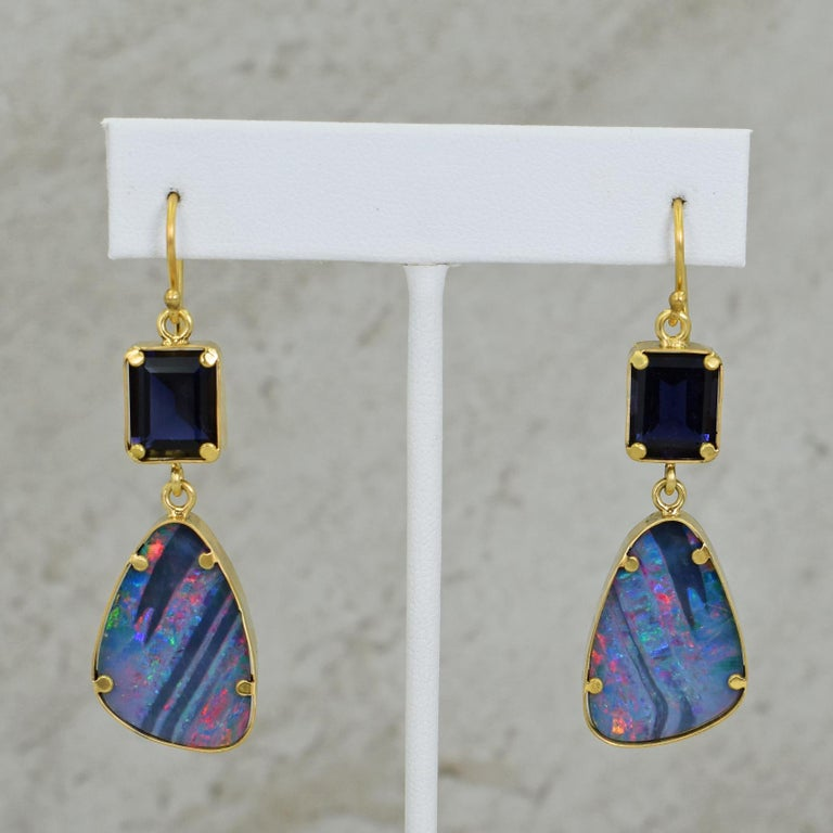 Contemporary Iolite and Australian Boulder Opal 22 Karat Gold Dangle Earrings For Sale