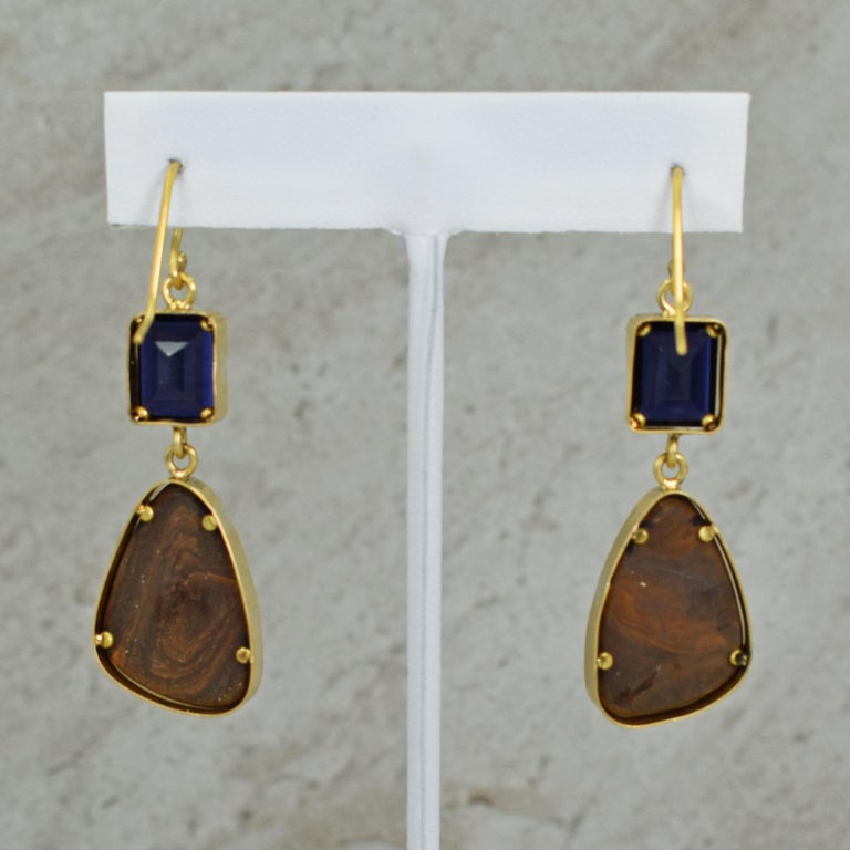 Iolite and Australian Boulder Opal 22 Karat Gold Dangle Earrings In New Condition For Sale In Naples, FL